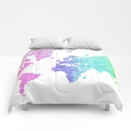"""Rainbow world map in watercolor style """"Jude"""" Comforters"""