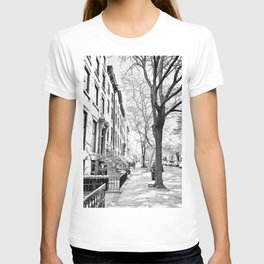 Cobble Hill Brooklyn Winter Black and White Brownstone T-shirt