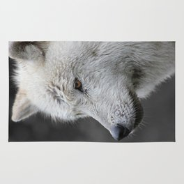 Side Portrait of an Arctic Wolf Rug