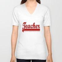 teacher V-neck T-shirts featuring Teacher Humor by The Spunky Teaching Monkey- Teacher Stor