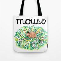 theatre Tote Bags featuring Theatre Mouse by Rebecca Rogers
