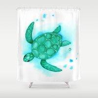 nursery Shower Curtains featuring Nursery Style Sea Turtle by BevyArt