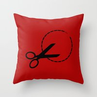 pivot Throw Pillows featuring Cut here with scissors by Sofia Youshi