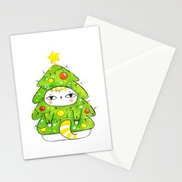 Christmastree kitty Stationery Cards