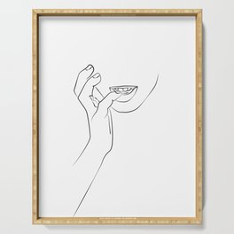 Hands On Face, Lips Print, Black And White, Biting finger line art Print, Minimalist Woman Print, Mi Serving Tray