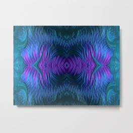 Sunrise Reflections on the Frosty Lake Fractal Abstract Metal Print