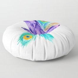 Crystals and Feathers - Amethyst Floor Pillow