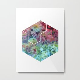 Floral Hexagon Metal Print