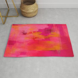 """""""Abstract brushstrokes in pastel pinks and solar orange"""" Rug"""