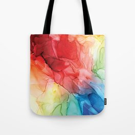 Rainbow Good Vibes Abstract Painting Tote Bag