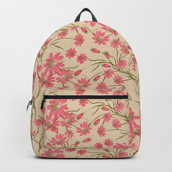 Floral pattern on beige background Backpack