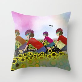 Les Poursuivants (Boys on Bikes in France) Throw Pillow