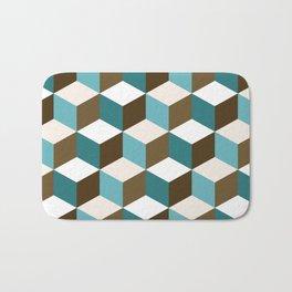 Cubes Pattern Teals Browns Cream White Bath Mat