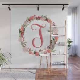 Personal monogram letter 'T' flower wreath Wall Mural