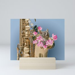 saxophone with grey cat and Lotus flower blossoms Mini Art Print