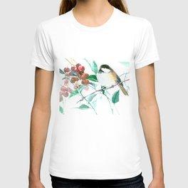 Chickadee And Berries chickadee bird art T-shirt