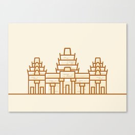 Cambodia - Angkor Wat Illustration Canvas Print