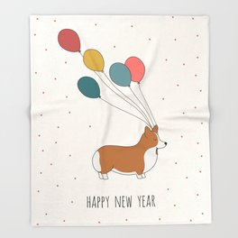 HAPPY NEW YEAR CORGI Throw Blanket