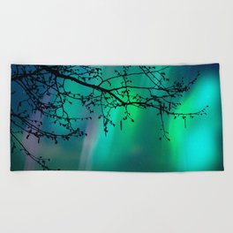 Tree Branch and Aurora Borealis Night Sky Beach Towel