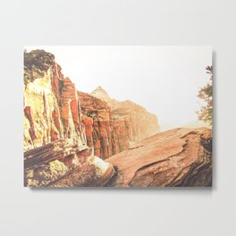 rocky mountain with strong sunlight at Zion national park, USA Metal Print