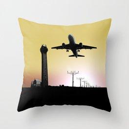 ATC: Air Traffic Control Tower & Plane Throw Pillow