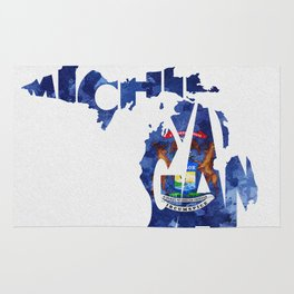 Michigan Typographic Flag Map Art Rug
