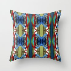 Kaleidoscope of Red and Blue Macaws Throw Pillow