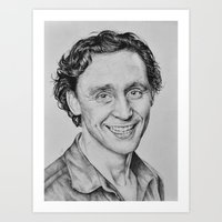 tom hiddleston Art Prints featuring Tom Hiddleston by hinterdemlicht