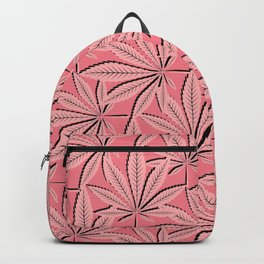 Kannabis Pattern 24 -Coral,Black Backpack