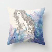 pisces Throw Pillows featuring Pisces by katiwo
