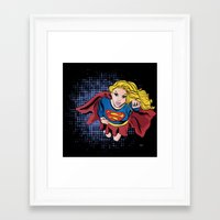 supergirl Framed Art Prints featuring Supergirl by Waterflybooks