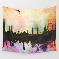 london Wall Tapestries featuring london by mark ashkenazi