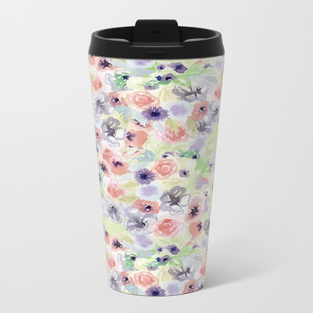 Wildflower Pattern - Little Flowers Metal Travel Mug by Denadraws MTM8409975