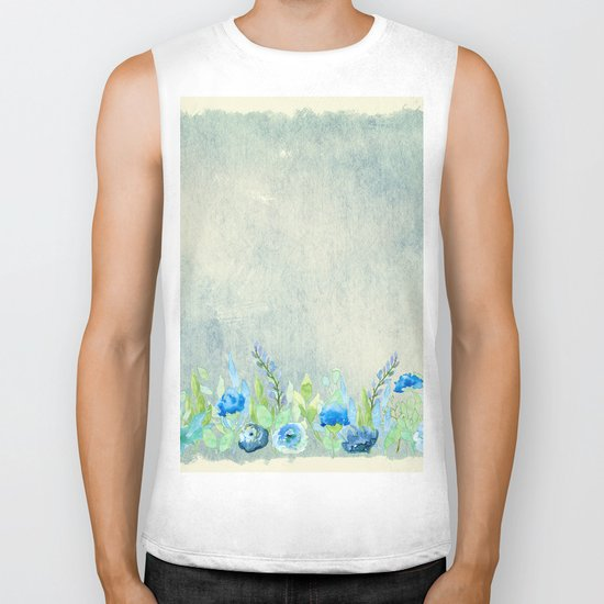 Blue flowers and roses in a meadow- Floral watercolor illustration Biker Tank