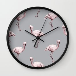 Simply Flamingo on Concrete Gray Wall Clock