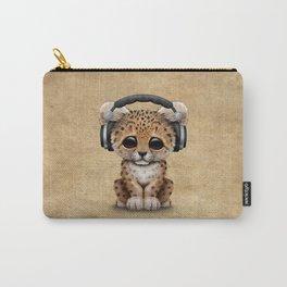 Cute Leopard Cub Dj Wearing Headphones Carry-All Pouch