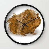 guinea pig Wall Clocks featuring grumpy old guinea pig  by Devon Busby Busbyart