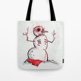 Snowman Zombie of the winter apocalypse Tote Bag