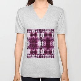 Black Cherry Plaid Shibori Unisex V-Neck