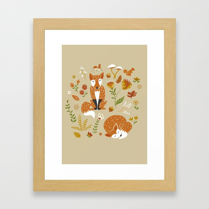 Foxes with Fall Foliage Framed Art Print