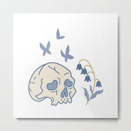 Skull, Moth and Bluebells Metal Print