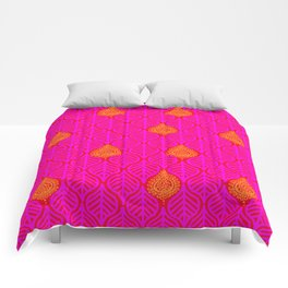 PLANTAIN PALACE - RED/PINK/ORANGE Comforters