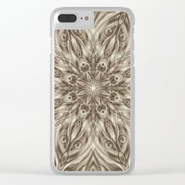 off white sepia swirl mandala Clear iPhone Case