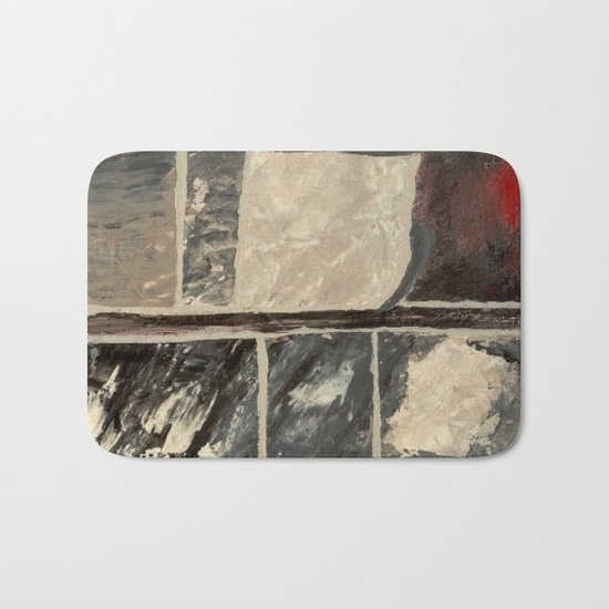 Textured Marble Popular Painterly Abstract Pattern - Black White Gray Red Bath Mat