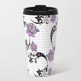Floral pattern on black mesh . Travel Mug