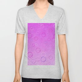 Colorful bubbles on a pink background. Unisex V-Neck