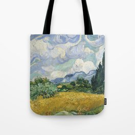 Wheat Field with Cypresses by Vincent van Gogh Farmhouse Aesthetic Blue Emerald Green Golden Yellow Tote Bag