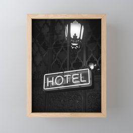 Vintage Hotel Neon Sign Black and White Photography Framed Mini Art Print