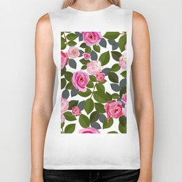 Pink Roses and Leaves Hand Drawn Pattern Biker Tank