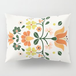 Bright Folk Flowers Pillow Sham